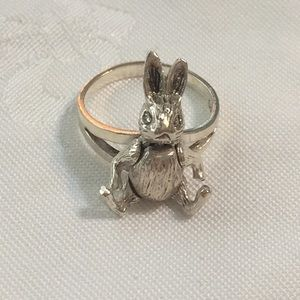 Silver Moveable Bunny Ring